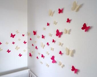 Set of beige and pink 3D butterflies wall decor