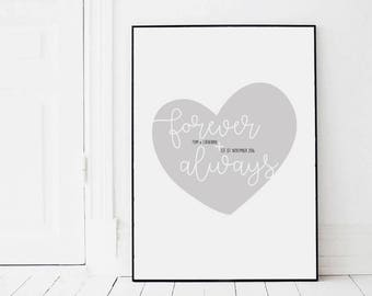 Personalised Forever and Always Print - Wedding & Anniversary Gift - Gift Ideas - Love Print - Home Decor