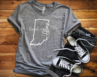 Indiana Home shirt, Indiana shirt, Red Indiana shirt, Home shirt, Indiana outline, Plus size,  Made by Enid and Elle