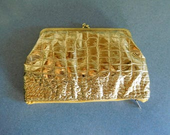 Vintage Gold Tone Clutch Purse for Evening Wear