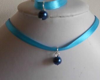 Navy wedding adult/child blue satin ribbon and pendant set