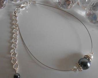 Wedding bracelet grey charcoal and white pearls and rhinestones