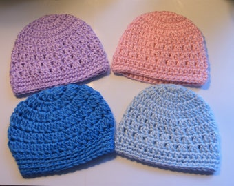 Crochet Baby Beanies. Baby Hats. Newborn Beanies. 0-3 Month beanies. Ready to ship!