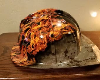 Personalized Hydrographic Firemans Helmet, Firefighter, EMT with custom flames