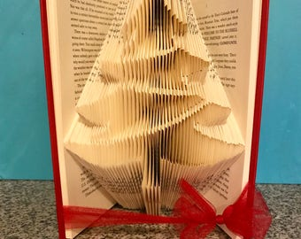 Christmas Tree Folded Book- Holiday - Warm wishes - Decoration - Santa - Book lover -