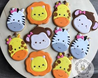 Jungle Animals Birthday Cookies