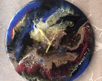 "Hand made. 12"". record. resin. resin art. clock. gift. wall art. album. unique"