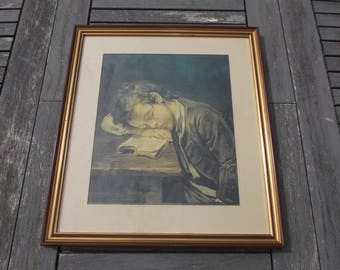 """framework with gilding of the 1970s with reproduction of """"L'enfant asleep on his livre"""" of Jean Baptiste Greuze - framing with gold """""""