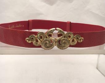 Judith Leiber Red Snakeskin Leather Belt with Snake Detailing