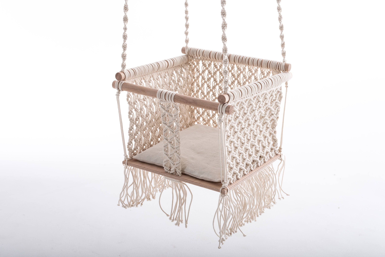 POLKA KNOT handmade macramé baby swing Cara