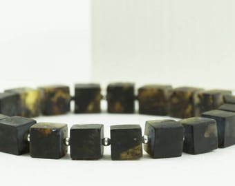 Baltic Amber Bracelet. Mens Black Bracelet. Matt Cubes. Bracelet for Him. Amber & Silver Jewelry.