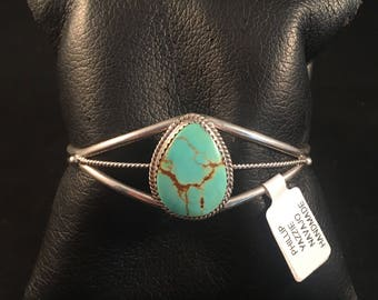 Native American Navajo Turquoise and Sterlig Silver Cuff Bracelet