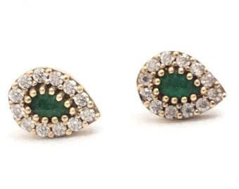 High Quality 925 sterling Silver Turkish Emerald Earrings Gift For Her