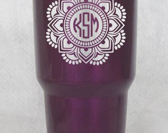 20 30 oz yeti or non yeti cup tumbler colster lowball monogramed custom mandala candy powder coated