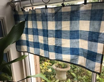 """Vintage shabby chic vichy gingham fabric cotton Cafe curtain brise- bise 13""""/25"""""""