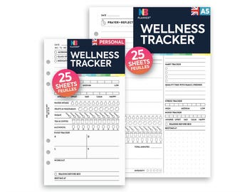 PRINTED Wellness tracker Insert A5 / Personal Filofax A5 Kikki.K Large Compatible Refill Coloured
