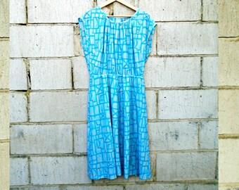 Vintage Dress - Knee Length - 1980's - Summer Dress - Blue - Summer Vintage