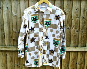 Vintage Blouse - Abstract Shirt - Long Sleeved - Oversized - 80's 90's