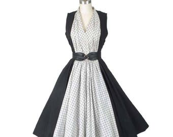 50s Black and White Check Swing Dress-1950s Full Skirt Dress-Rockabilly-Pinup-Colorblock-Two Tone-Pat Hartley--S-Small