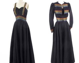 40's Black Taffeta Sweetheart Gown-1940s Evening Dress-Party Gown-Elegant-Matching Jacket-Full Sweep Skirt-Stripe Detail-S-Sm