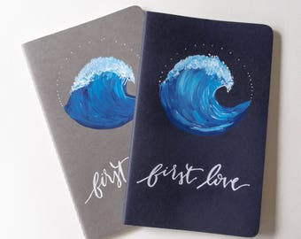 Custom Ocean Wave Moleskin Journal