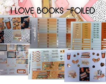 I Love Books Foiled//6 Sheet Weekly Kit//Erin Condren//Happy Planner//Foiled Sticker Kits