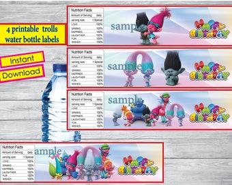 Instant DL,  Trolls water bottle labels- Trolls party, Trolls  Tags, Trolls  birthday,Printable Tags