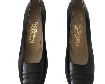 Ferragamo Black Leather Pump Snakeskin Toe (Narrow)