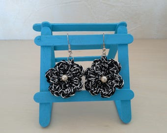 Black silver plated wire crocheted hand, timeless earrings Stud flower earring