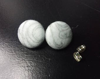 Grey and White Swirls Scrap earrings   Upcycled fabric earrings   Cloth Button Stud Earrings   White and Gray Unique Jewelry