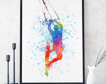 Kitesurfing Print, Kiteboarding Poster, Kitesurfing Art, Kiteboarding Wall Art, Sports Decor, Watercolour Sport Art, Water Sport (N020)