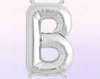Metallic Silver Letter B Balloon | Silver B Balloon | Silver Letter B Balloon | Jumbo Letter B Balloon