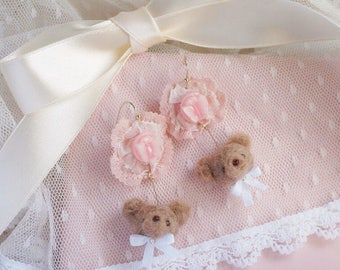 Butterfly and teddy bear earrings