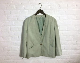 Vintage light green classic collarless blazer jacket - UK 12 EU 40 US 10 - Preppy Seventies Elegant