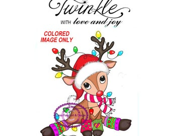 2.50 DOLLAR SALE-Digital Stamp, Digi Stamp, Digistamp, COLORED Reindeer Lights and  Sentiment by Conie Fong, Christmas, coloring page