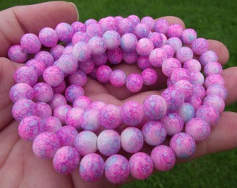 10 VINTAGE MULTICOLOR ROUND GLASS BEADS. 8MM.