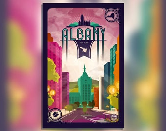 Downtown Albany, NY Print - New York Poster - City of Albany State Street - Empire Plaza - SUNY Capital District - Wall Art Graphic Design