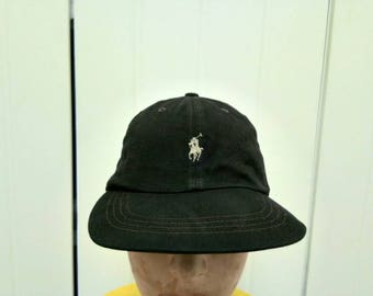 Rare Vintage POLO RALPH LAUREN Leather Adjustable Cap Hat Free Size Fit All