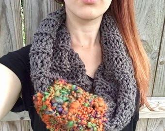 Chunky, Soft Handspun Yarn Cowl, Crochet Loop Scarf, Colorful Fall Accessories, Gray / Orange / Green / Purple