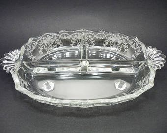 Vintage Fostoria Corsage Divided Relish Dish, Divided Relish Tray, Fostoria Glass, Antique Glassware, Serving Dishes, Serving Bowl