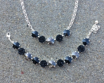 COAL QUEEN Swarovski crystal 12mm jewelry set in sterling silver with black, black patina, and black druzy