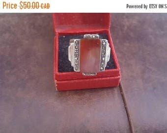 ON SALE Vintage Red Stone, Marcasite and Sterling Silver Ring