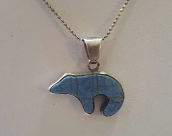 ON SALE Vintage Sterling Silver Necklace with Silver and Stone Bear Pendant