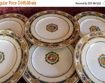 """Summer Sun Sale Set of 6 Antique Mintons Fine China 10.25"""" Dinner Plates - Fruit, Teal Blue and Gold, H3742"""