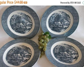 "SALE Set of 4 Royal China by Jeannette Currier and Ives 10"" Dinner Plates: The Old Grist Mill, Blue and White Winter Scene"