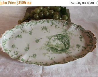 """SALE Antique Charles Field Haviland 13"""" Oval Tray  - CFH GDM, Green Ivy with Scenery Medallion, French Limoges"""
