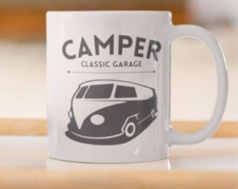 Classic Volkswagen Garage Van print, VW Camper print Coffee/Tea Mug, Classic Volkswagen Van,VW Camper Van, Classic Surfers Van, VW Classic.