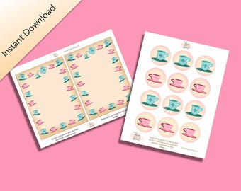 Tea Party Packet, Alice's Adventures in Wonderland by Lewis Carroll Inspired Cupcake Toppers & journal cards, Digital Download