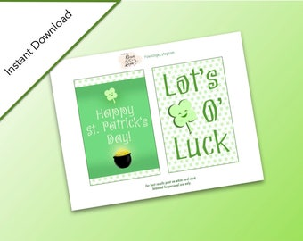 Printable St. Patrick's Day Notecards, Instant Download, Cards, St. Patrick's Day Lucky Clover, Pot of Gold, Shamrock, Home Decor Printable