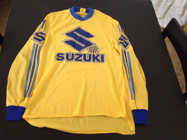 vintage 80s suzuki motocross dirt bike mx racing jersey size